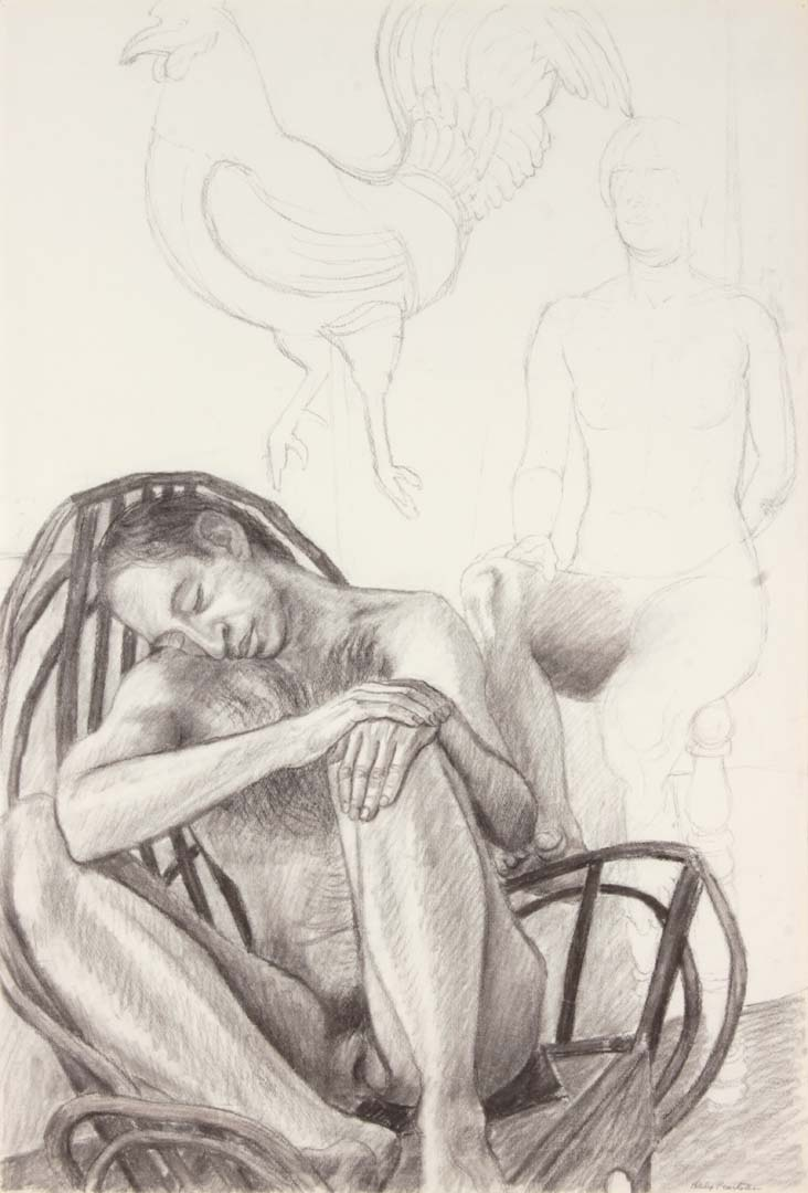 Two Seated Nudes with Wooden Rocking Chair and Rooster Charcoal on Paper 29.875 x 20.25