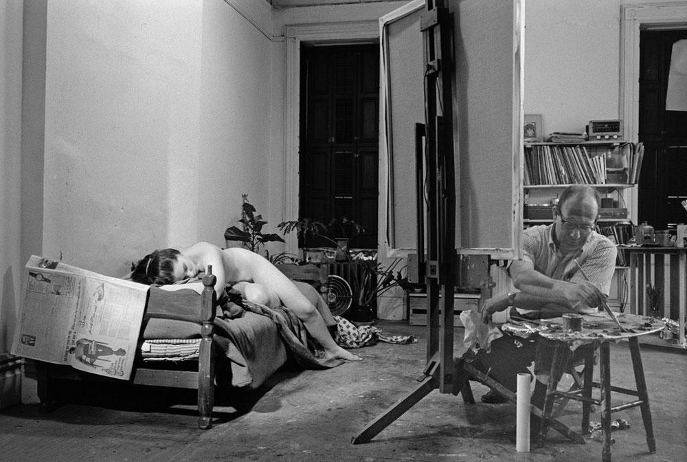 Philip Pearlstein Painting Figure, Photo by John Loengard, 1966