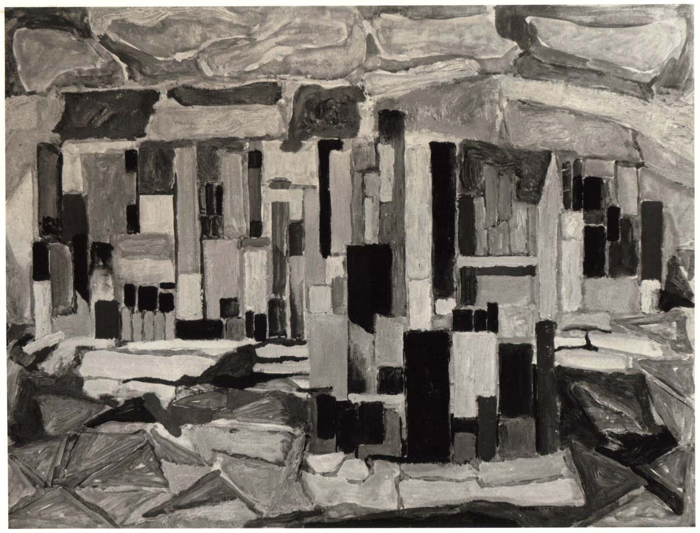 1950 Study for the City Casein and Oil on Board 18 x 24