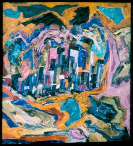 1952 Angel Of Death Over City Oil on Canvas