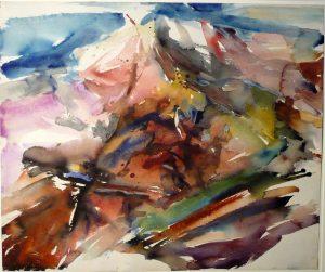 1955 Montauk Rock #5 Watercolor on Paper 18 x 21