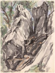 1955 New York Rocks #2 Watercolor on Paper 24 x 18