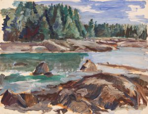 1955 River Oil on Paper 16.875 x 21.75