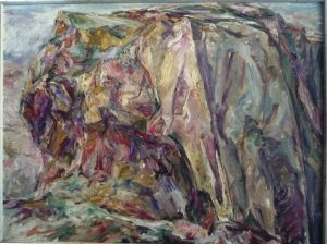 1955 Yellow Rock Oil on Canvas 30 x 40