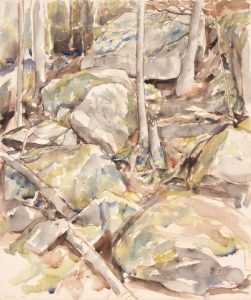 1956 NT (Rocks) Watercolor on Paper 21.5 x 18