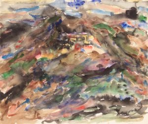 1957 View of Assissi #3 Watercolor on Paper 18 x 21