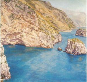 1973 View Toward Positano Oil on Canvas 48 x 48