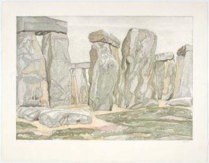 1979 Stonehenge Aquatint Etching on Paper 30.25 x 39