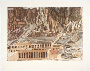 1979 Temple of Hatshepsut Aquatint Etching on Paper 30.25 x 29.125