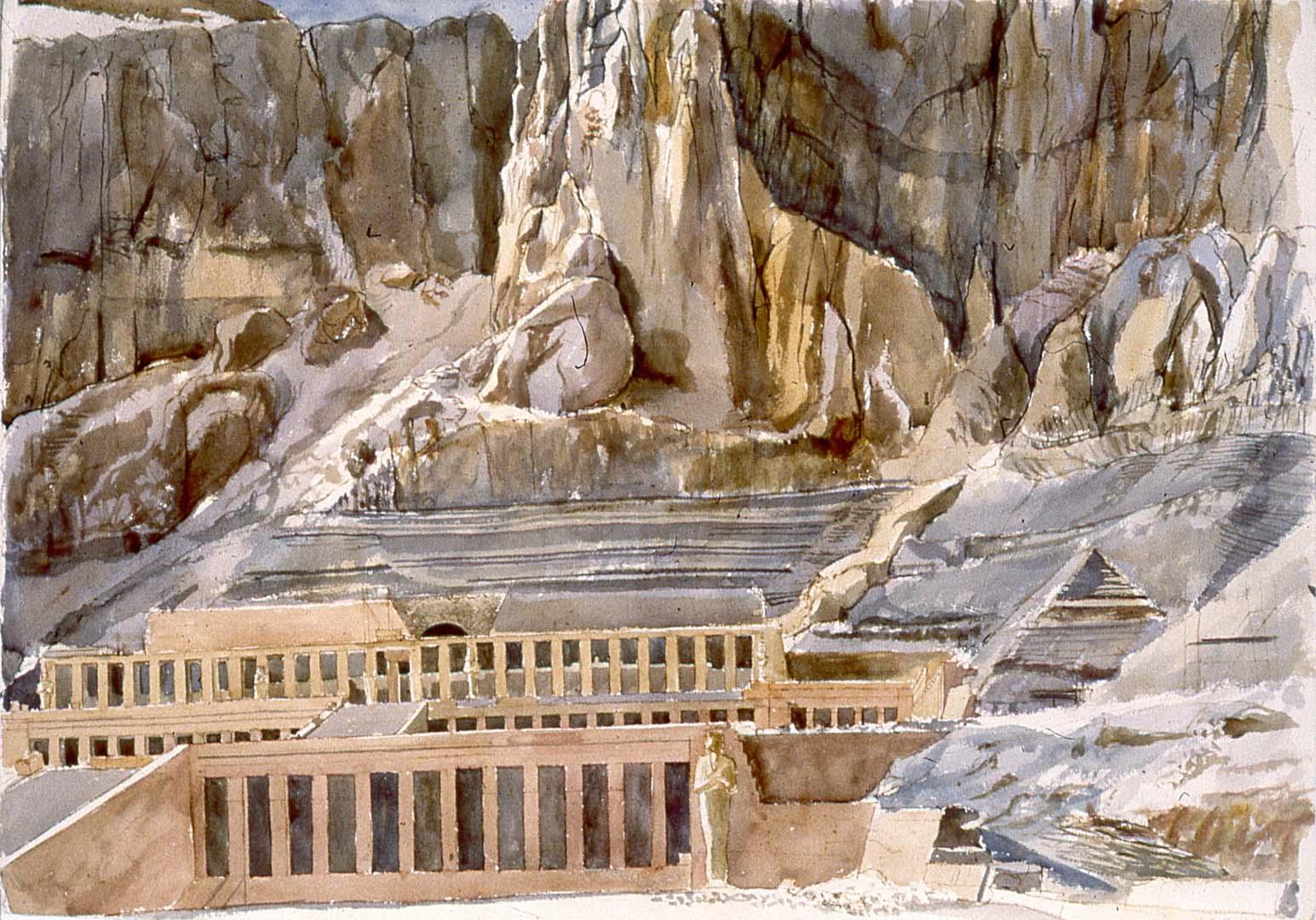 1979 Temple of Hatshepsut Watercolor on Paper 29 x 41