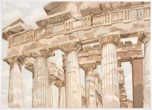 1983 Temple at Paestum Aquatint Etching on Paper 28.5 x 40.25