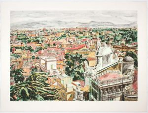 1986 View of Rome Aquatint Etching on Paper 35.5 x 47