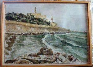 1997 Jaffa from Tel Aviv Watercolor on Paper 29 x 42