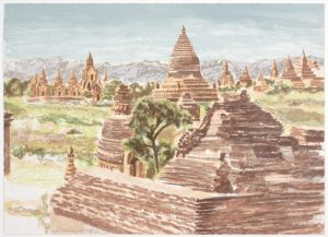 1997 Pagan Myanmar Lithograph on Paper 23.75 x 29