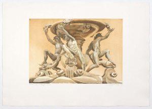 1998 Fontana Delle Tartarughe Aquatint Etching on Paper 22 x 31