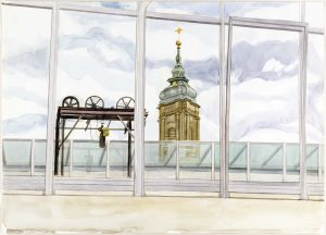 2003 Window View from Hoffman House Watercolor on Paper 28.75 x 50.75