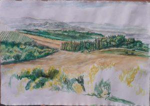 2009 View Towards Chiusi Watercolor on Paper 22.25 x 32