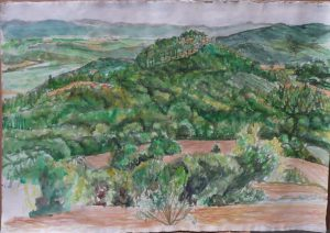 2009 View Towards Lake Tresimano Watercolor on Paper 22.25 x 32
