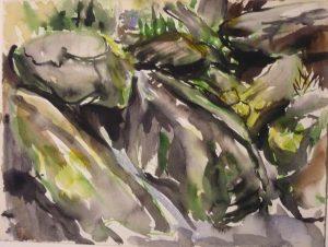 Deer Isle Rocks #1 Watercolor on Paper