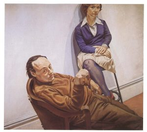 1968 Portrait of Al Held and Sylvia Stone Oil on canvas 66 x 72