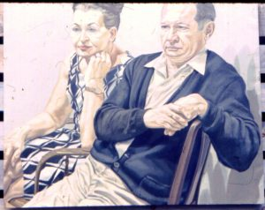1969 Portrait of Mr & Mrs Scadrow Oil 39.5 x 50