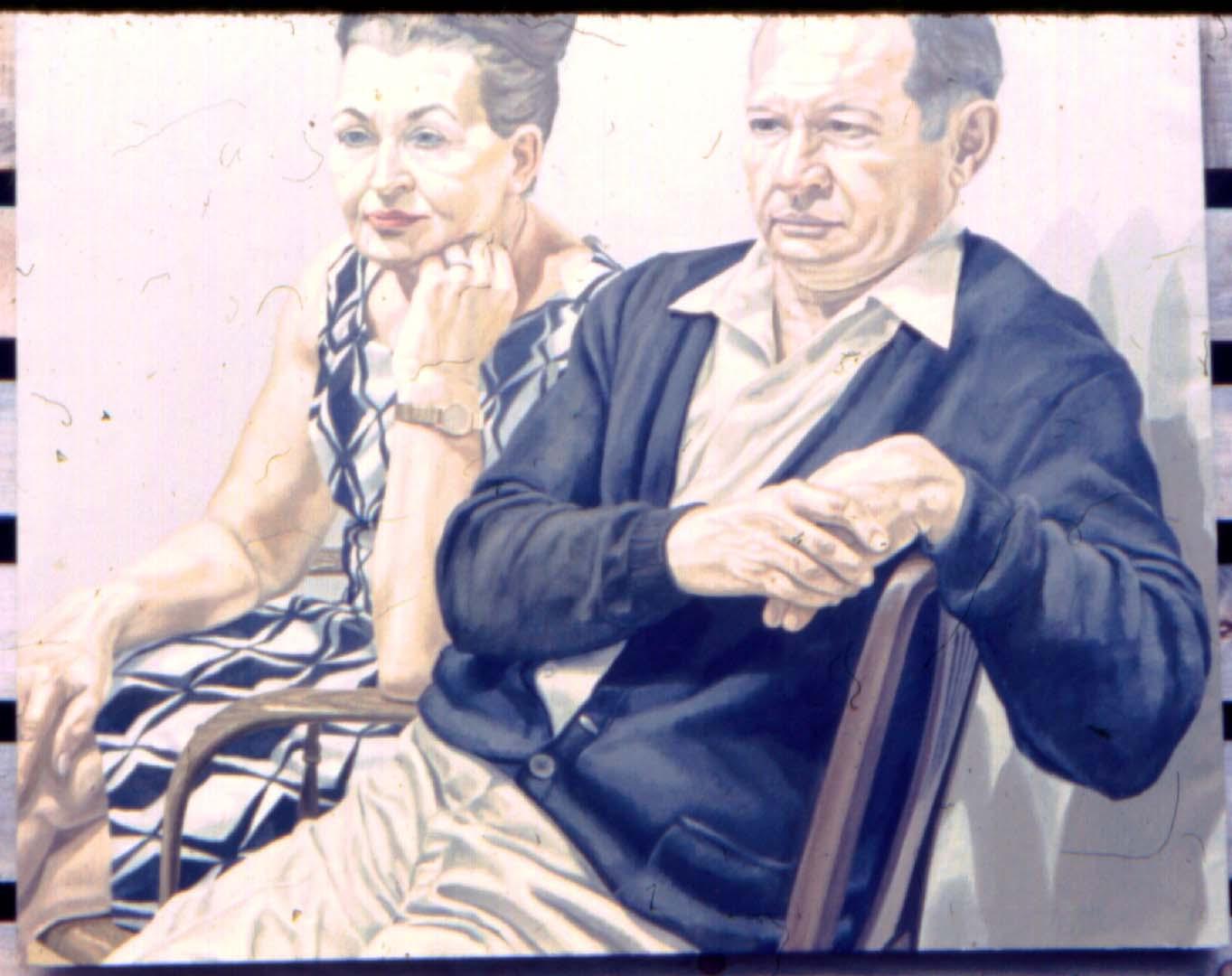1969 Portrait of Mr & Mrs Scadrow Oil 39.5 x 50