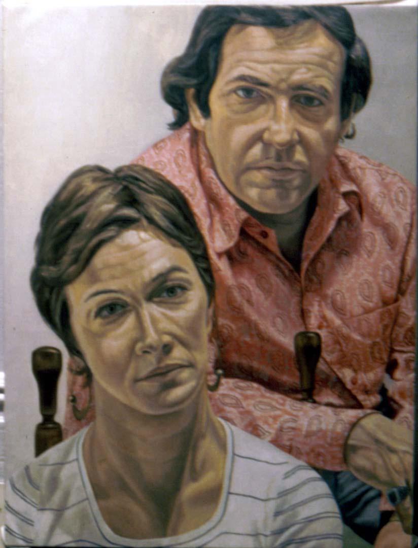 1973 Portrait of Mr & Mrs Martin Meltzer Oil 48 x 36