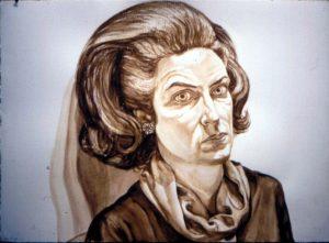 1976 Portrait of Barbara Schofield Watercolor 29.5 x 41