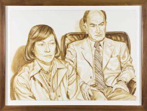 1976 Portrait of Shirley & Mr Aidichman Wash approx. 29 x 40