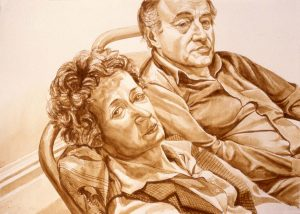 1979 Portrait of Al Held and Sylvia Stone Sepia Wash approx. 29 x 40