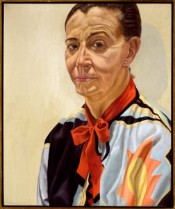1985 Portrait of Beth Levine (lady with red bow) Oil on canvas 30 x 24.75