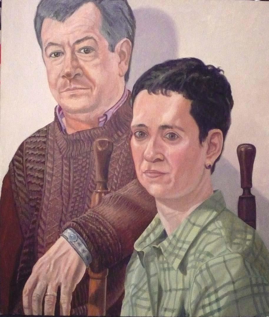 Portrait of Dr. Ellen Pearlstein & Steven Vecchio Oil 41 x 35